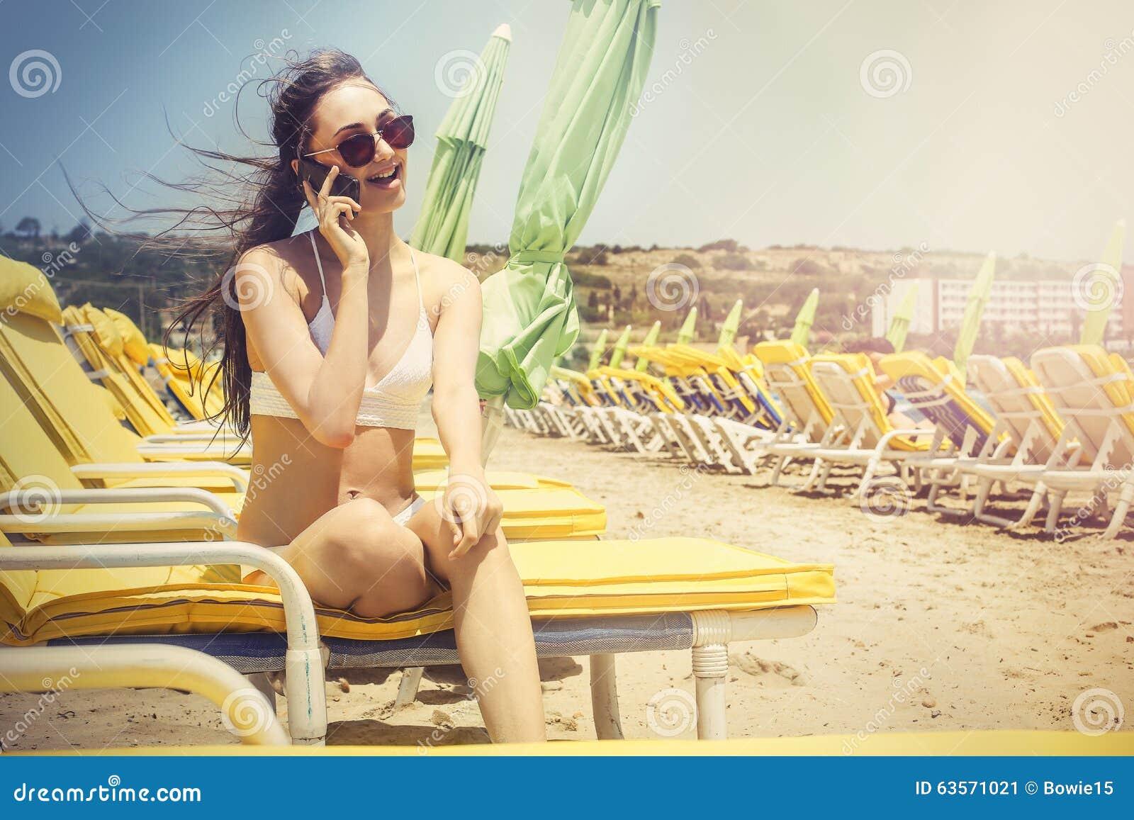Phone call at the beach