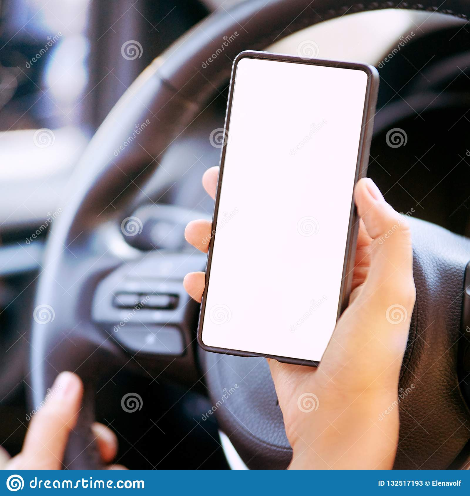Phone In Car  Mockup Screen App  Travel Map Stock Image
