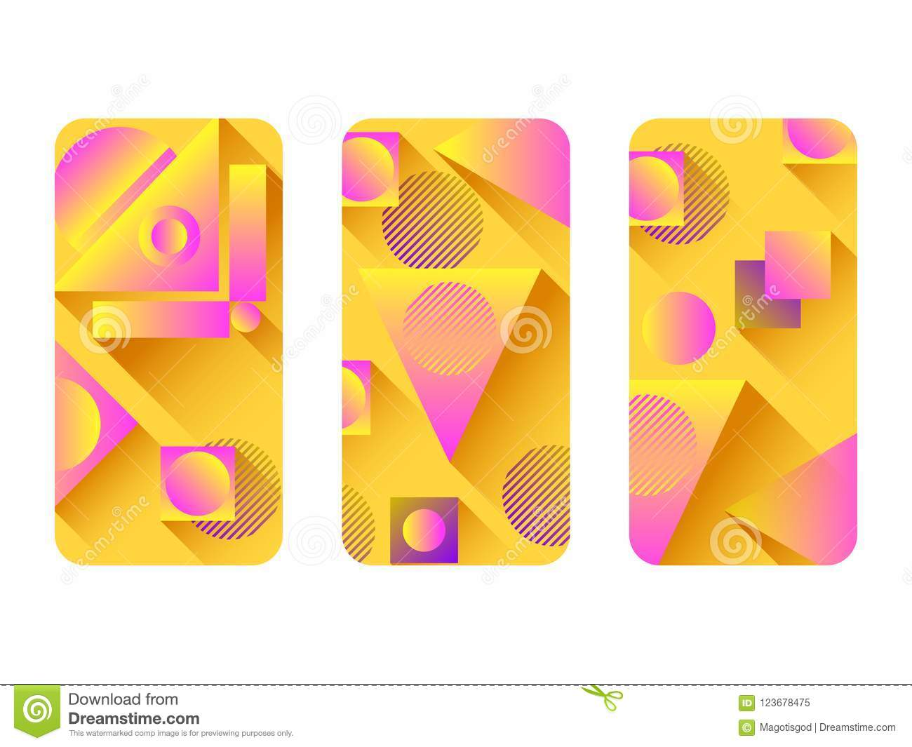 ebb28c82ae6a6c Phone case mockup. Memphis pattern background. Gradients geometric shape  style of the 80s.