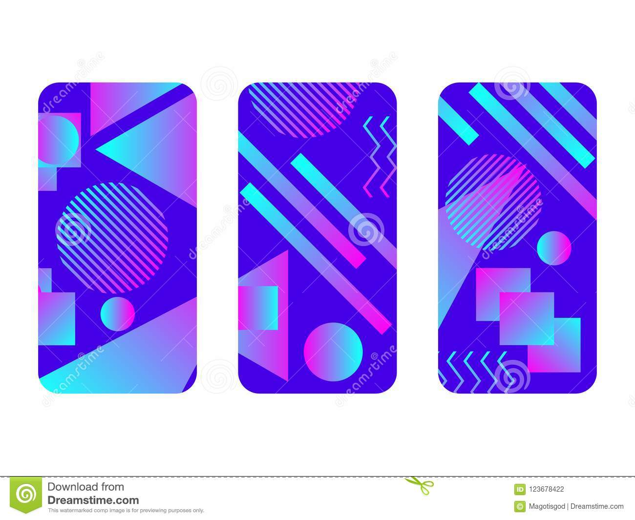 23c5702c2ca3f9 Phone case mockup. Memphis pattern background. Gradients geometric shape  style of the 80s. Smartphone cases set. Vector illustration