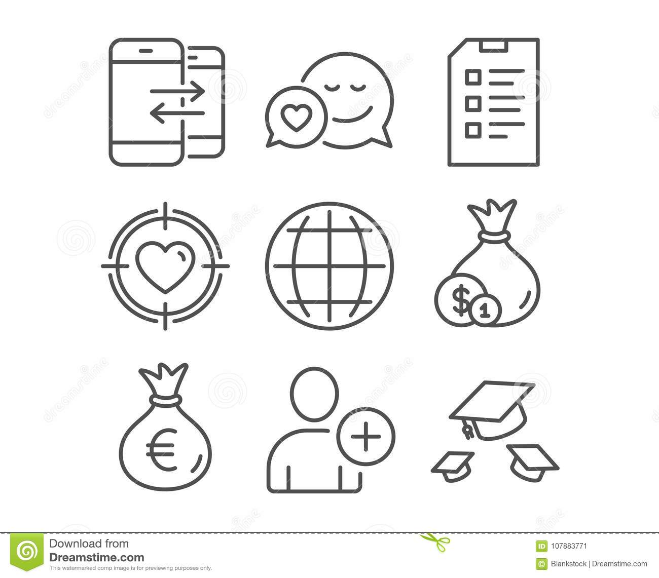 Phone communication money bag and checklist icons globe add phone communication money bag and checklist icons globe add user and cash signs biocorpaavc Gallery