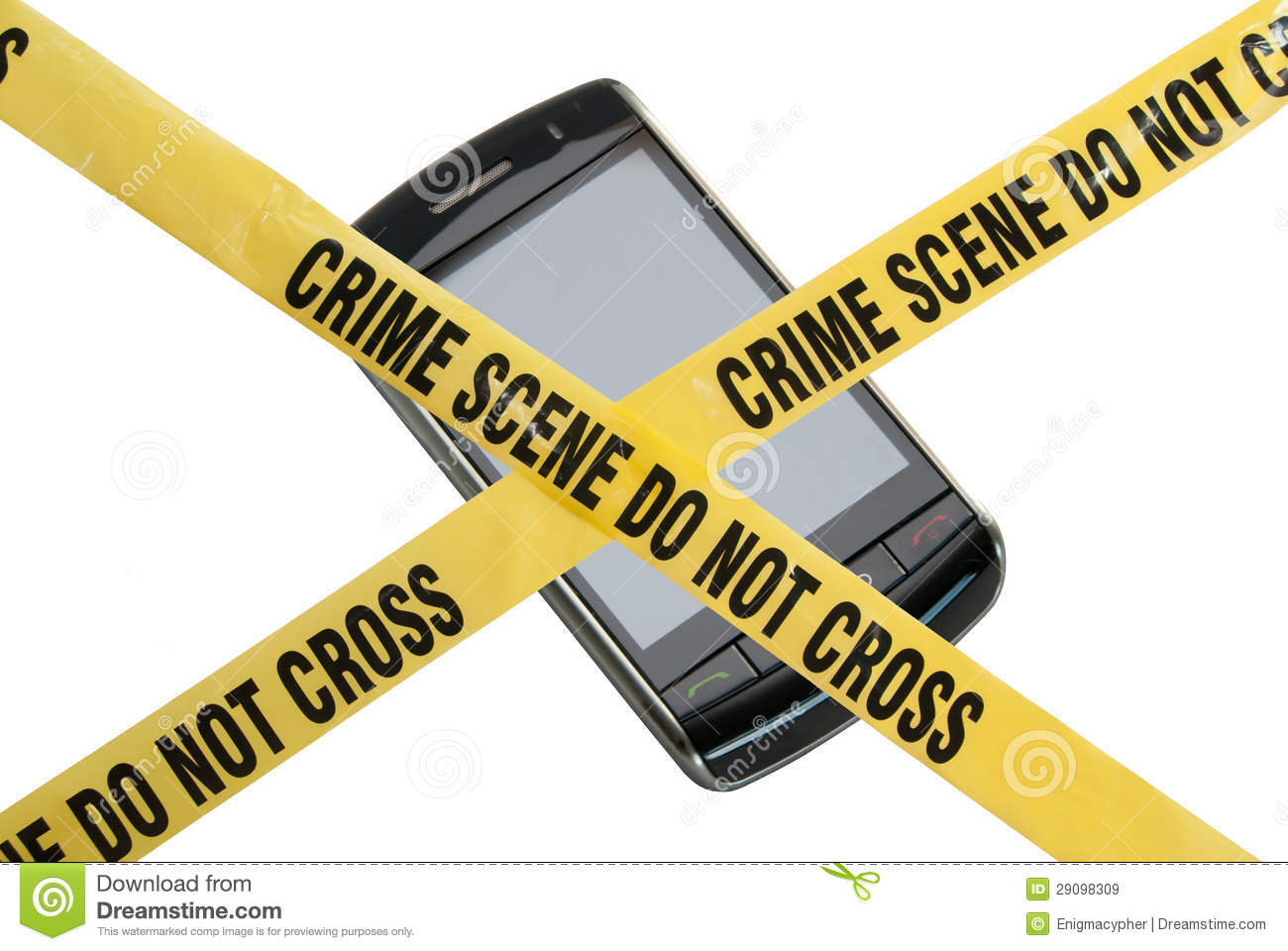 Is blocked by yellow police tape reading crime scene do not cross