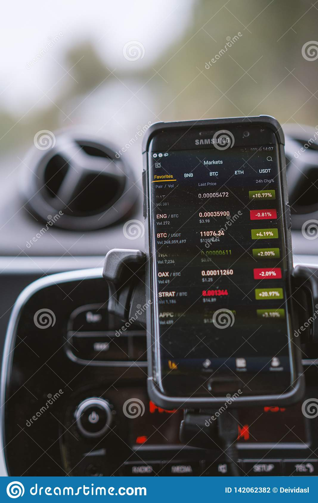 Phone With Crypto Currencies Trading App In A Car Editorial Photography Image Of Trading Business 142062382