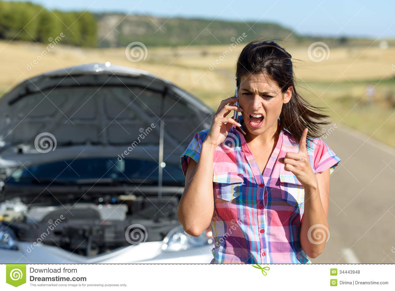 Car Crash Dream Meaning: Phone Discussion With Insurance Car Service Stock Photo