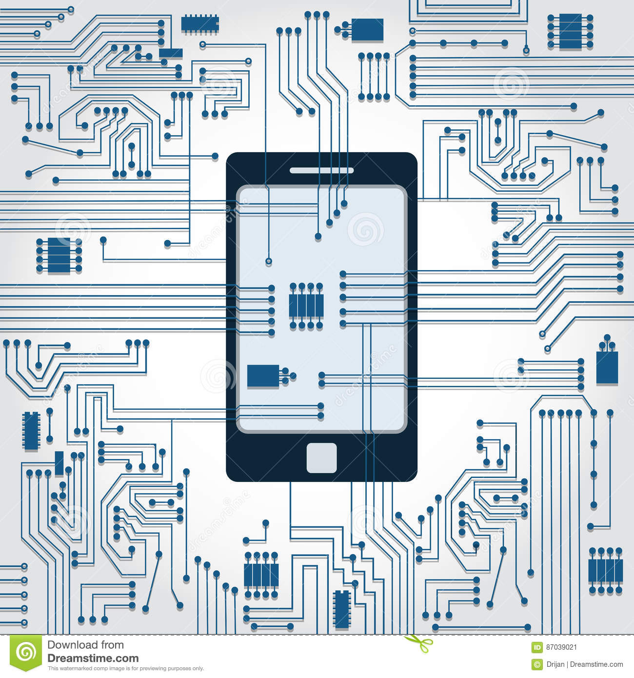 Circuit Background Cell Phone Web About Wiring Diagram Battery Charger And Electronics Stock Vector Illustration Of Rh Dreamstime Com Detector