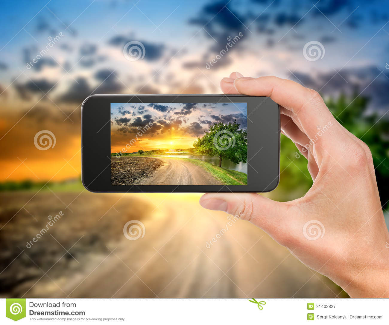 Phone and evening landscape royalty free stock photography How to landscape
