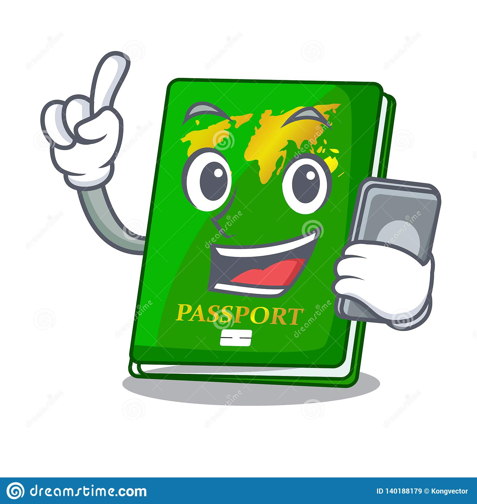 With phone green passport in a character bag