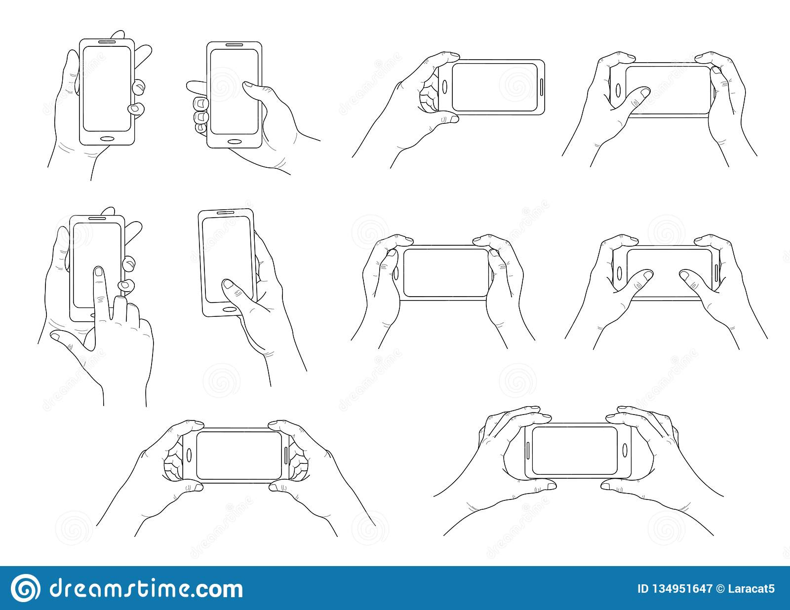 Phone in hand. Set of different gestures. Isolated contour. Vector