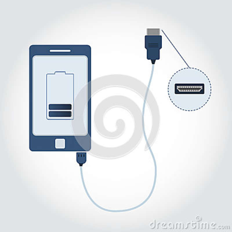 Phone With Hdmi Cable Stock Vector Illustration Of Cable 89927998