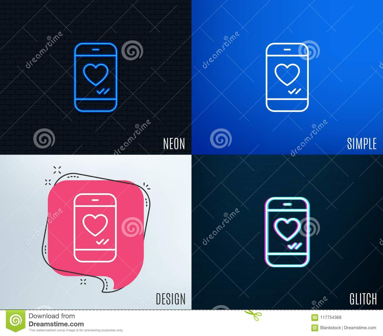Phone With Heart Line Icon Social Media Like Stock Vector