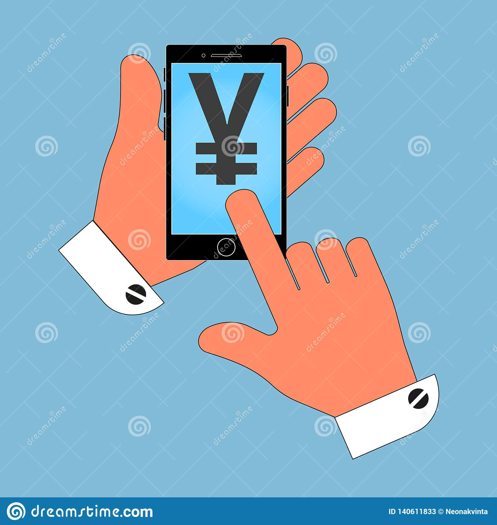 Phone icon in the hand, with the icon Japan yen on the screen, isolation on a blue background.