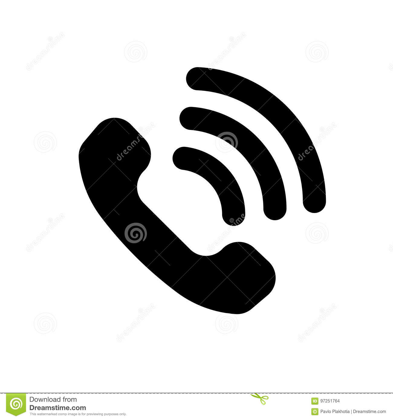 Phone and lines black icon stock vector  Illustration of
