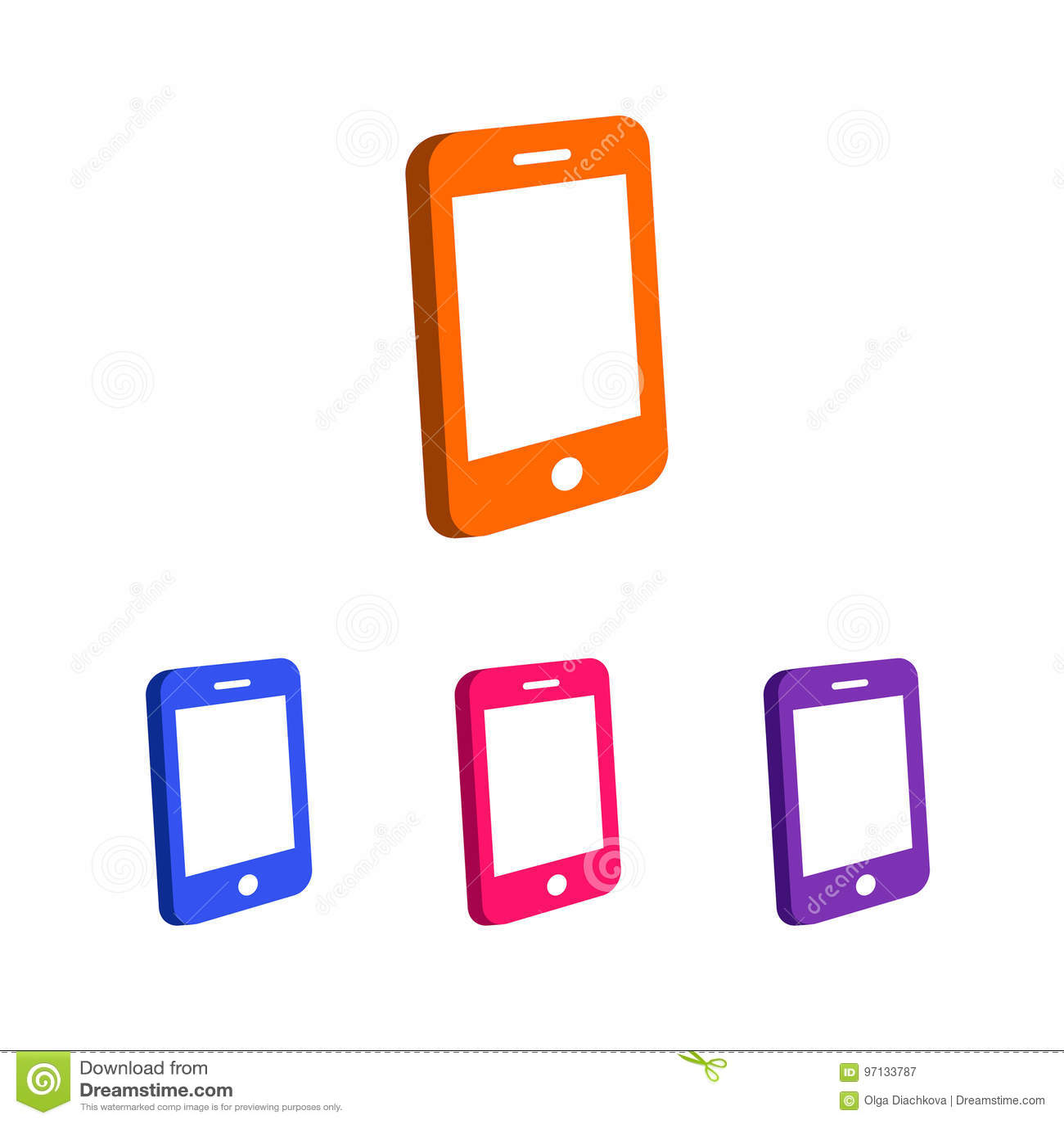 Phone Logo Template Set Different Color Stock Illustration