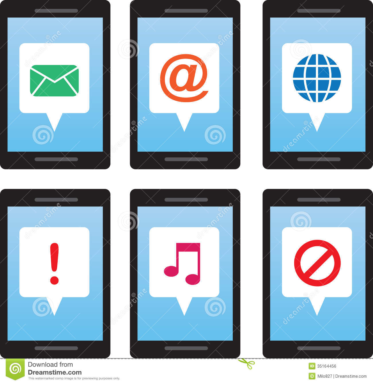 Phone Message Symbols Stock Vector Illustration Of Mail 35164456