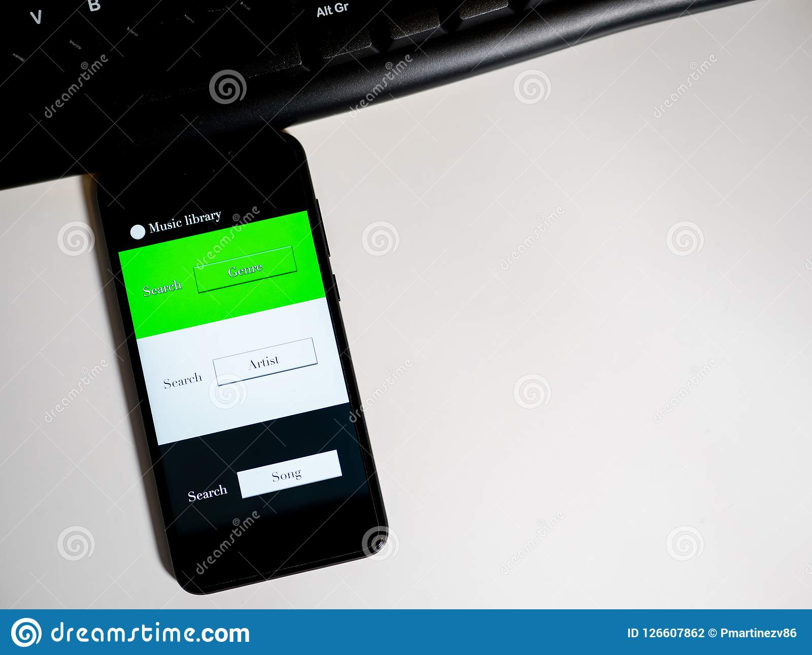 Music App In Phone With Keyboard Stock Photo - Image of message