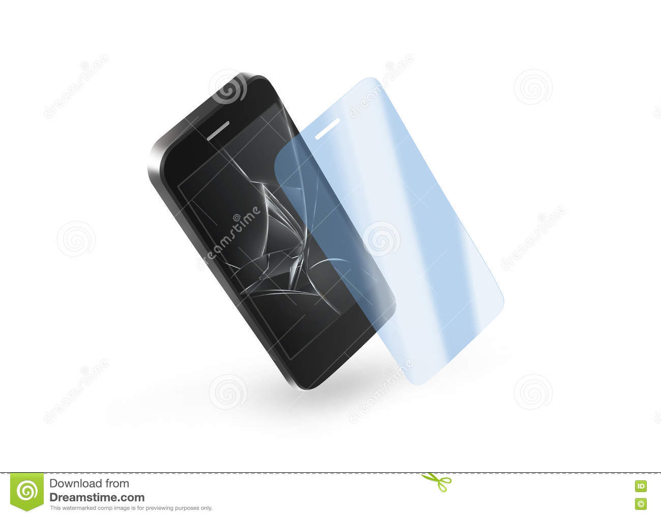 Phone protection glass with broken screen. Smartphone display