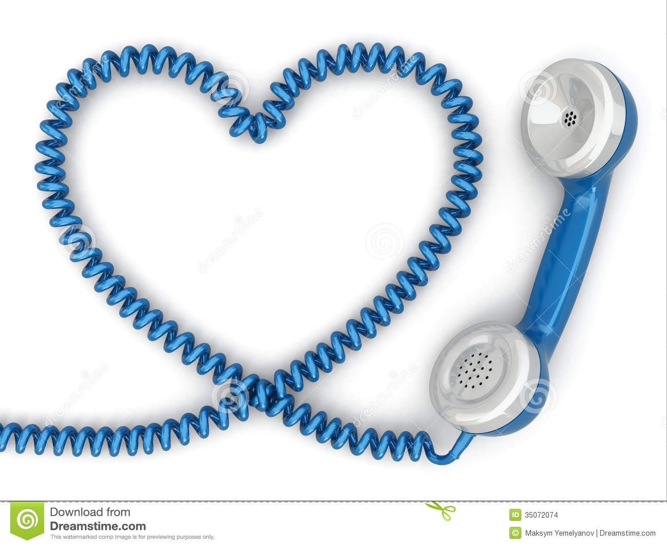 Phone Reciever And Cord As Heart Love Hotline Concept