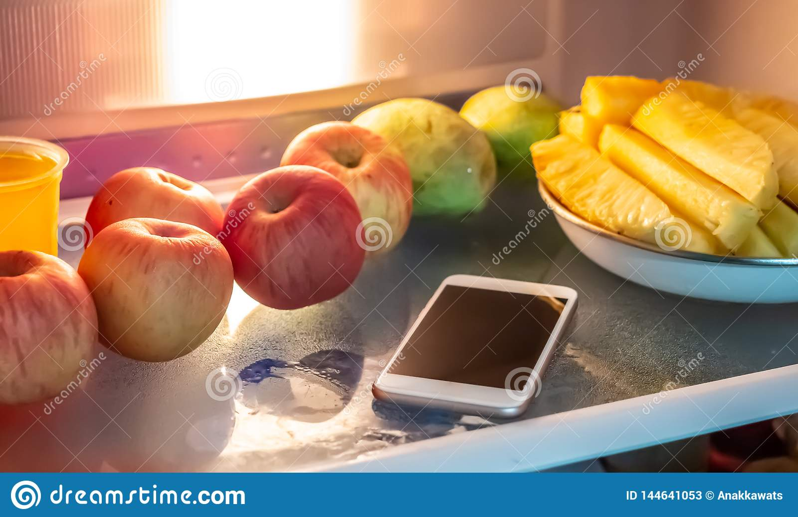 Phone in the refrigerator.