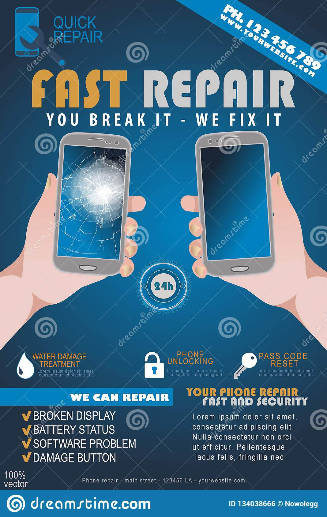 Phone Repair Service Banner Template Smartphone With Broken Screen Stock Vector Illustration Of Cell Mobile 134038666