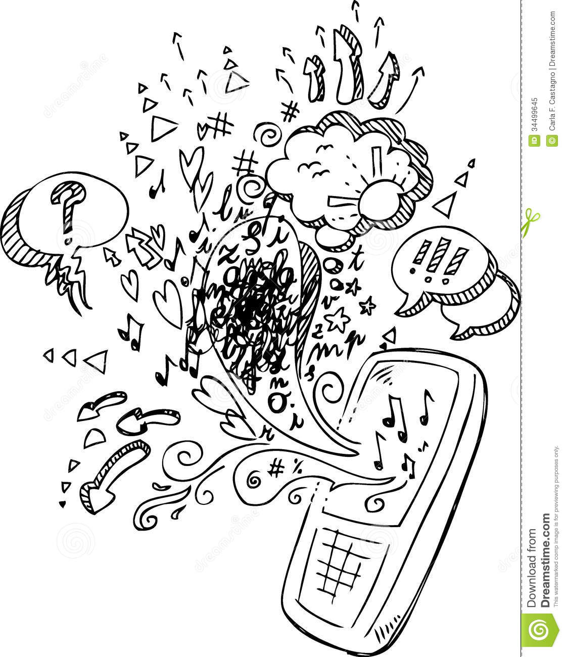phone sketchy doodles coloring vector royalty free stock