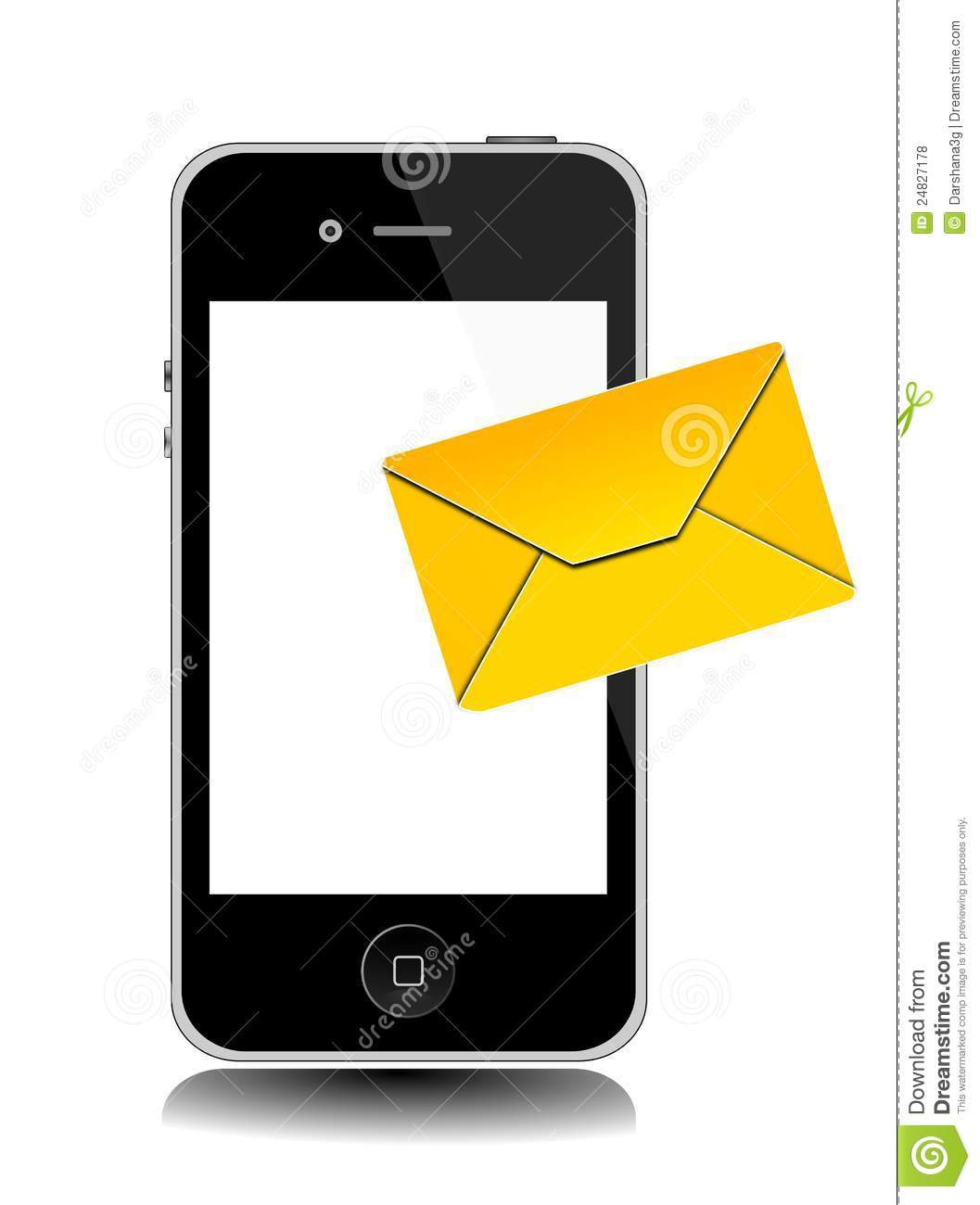 An illustration of IPhone with incoming or outgoing Message icon.