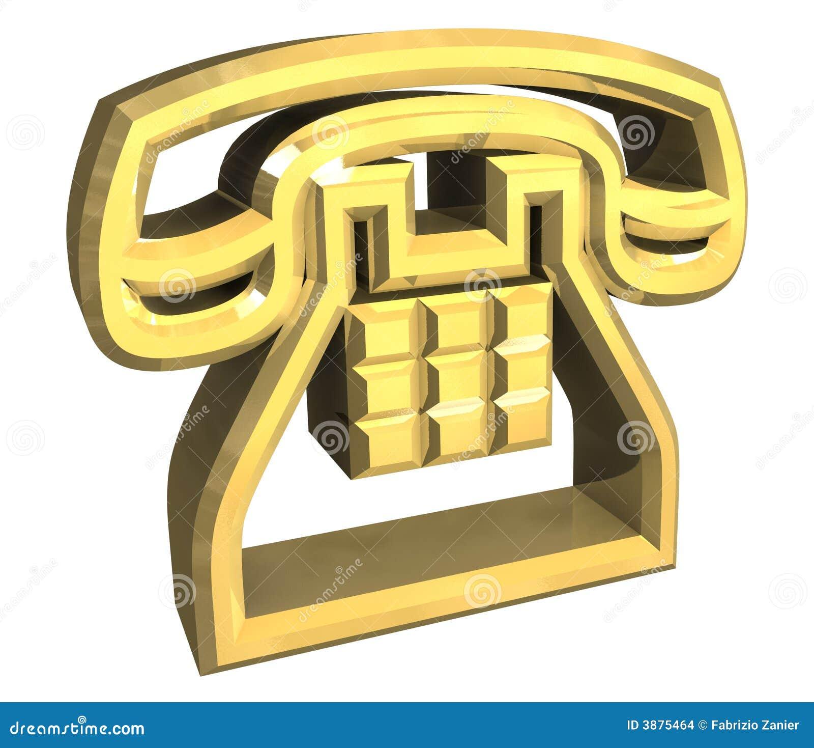 Phone Symbol In Gold 3d Stock Illustration Illustration Of