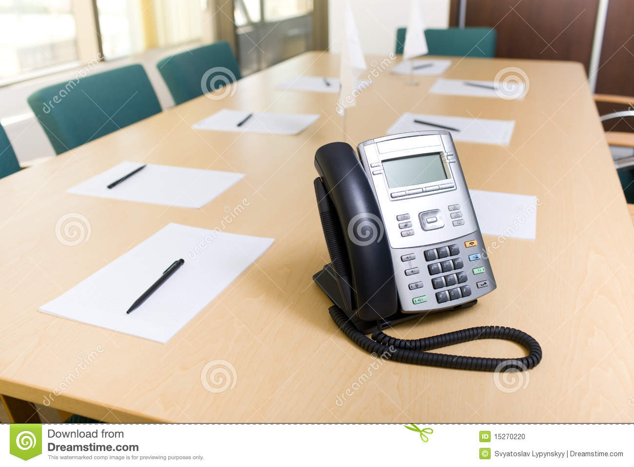 Phone On Table In Meeting Room Stock Photo Image Of