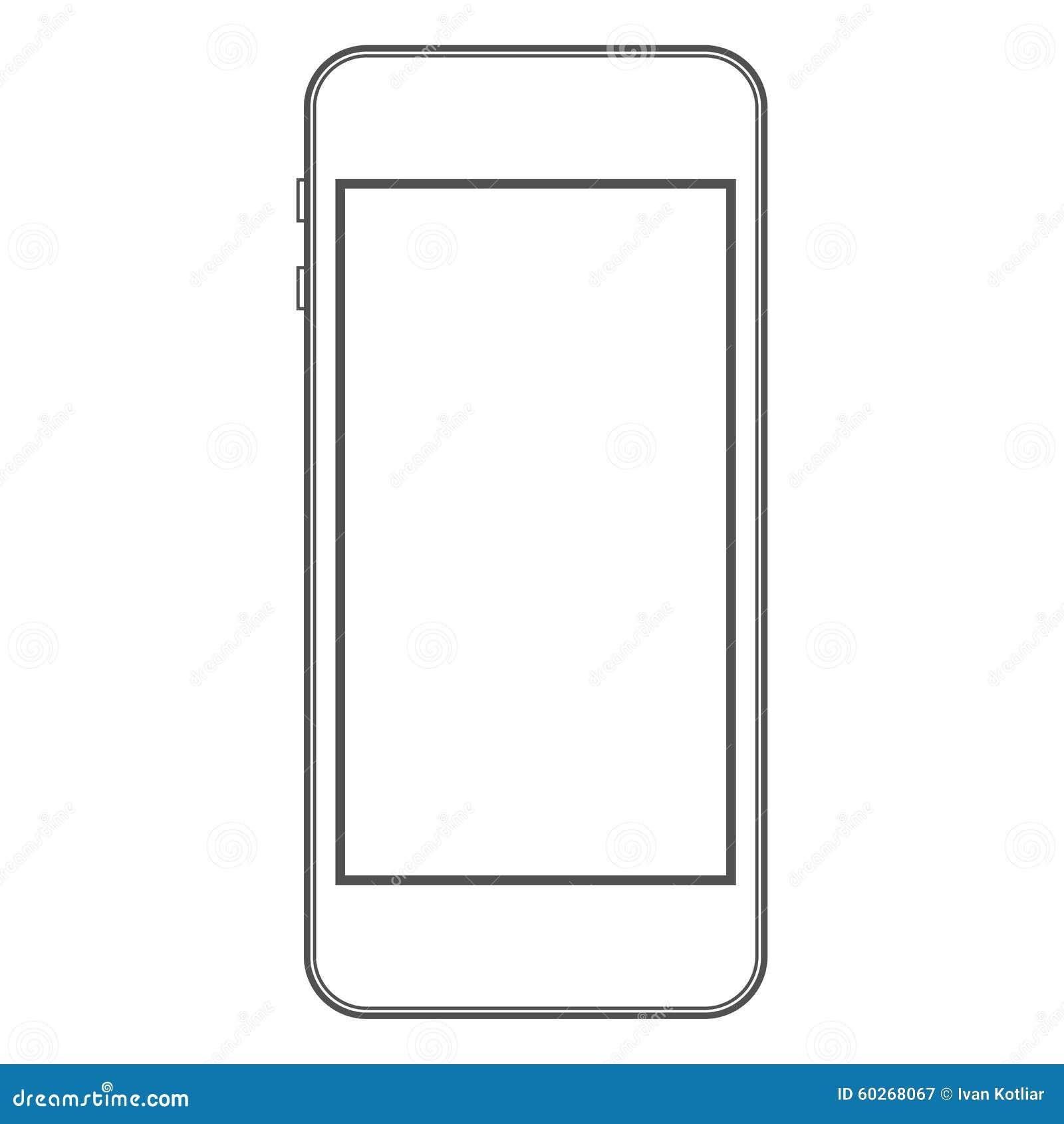 phone template stock vector illustration of iphone illustration 60268067. Black Bedroom Furniture Sets. Home Design Ideas