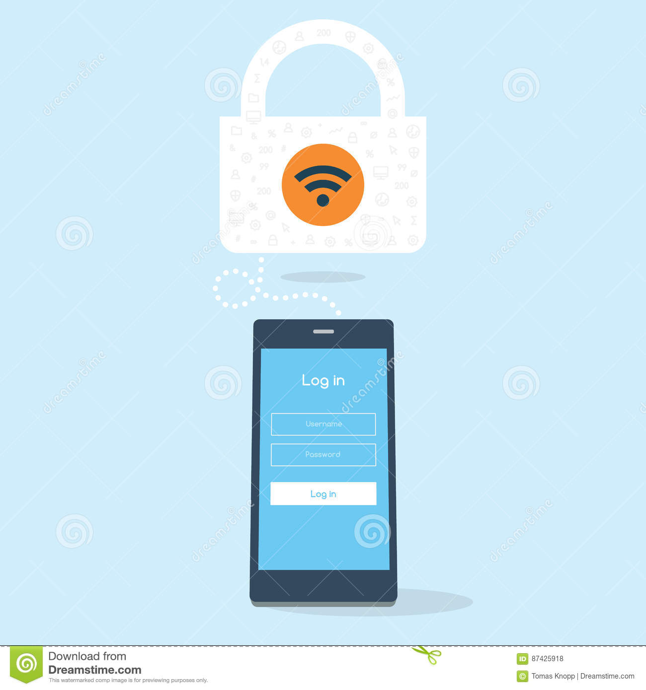 Phone Tries Login To A Secured Wifi Stock Vector