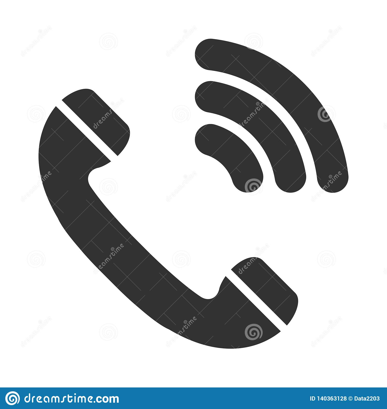 Phone vector icon. Flat style. Handset