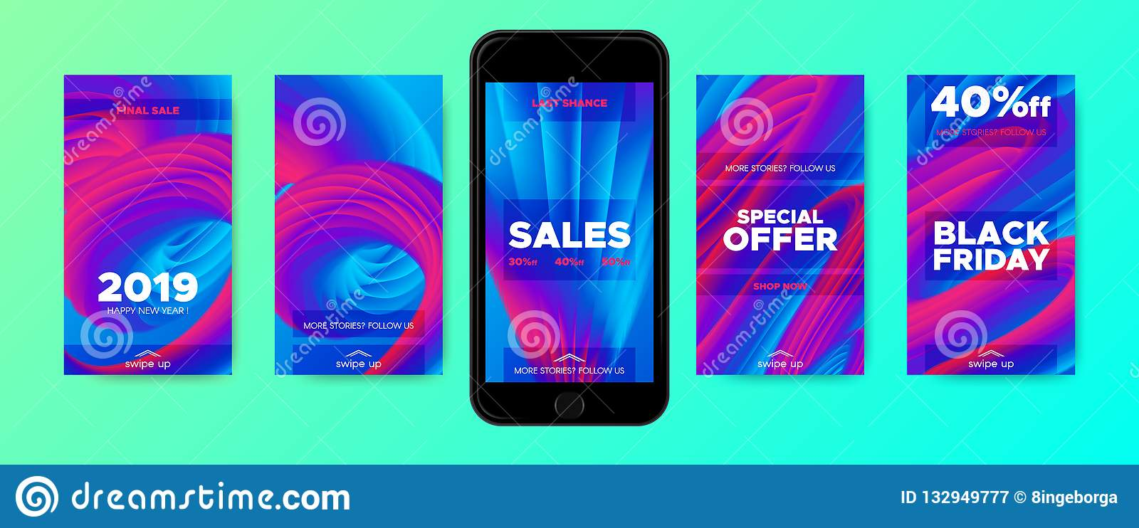 Phone Wallpaper Templates With 3d Abstract Shape Stock