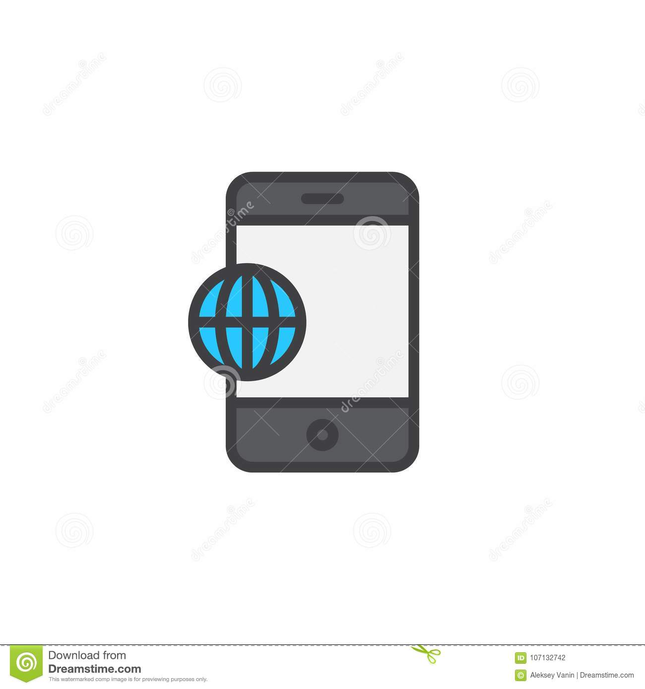 Phone World Globe Filled Outline Icon Stock Vector