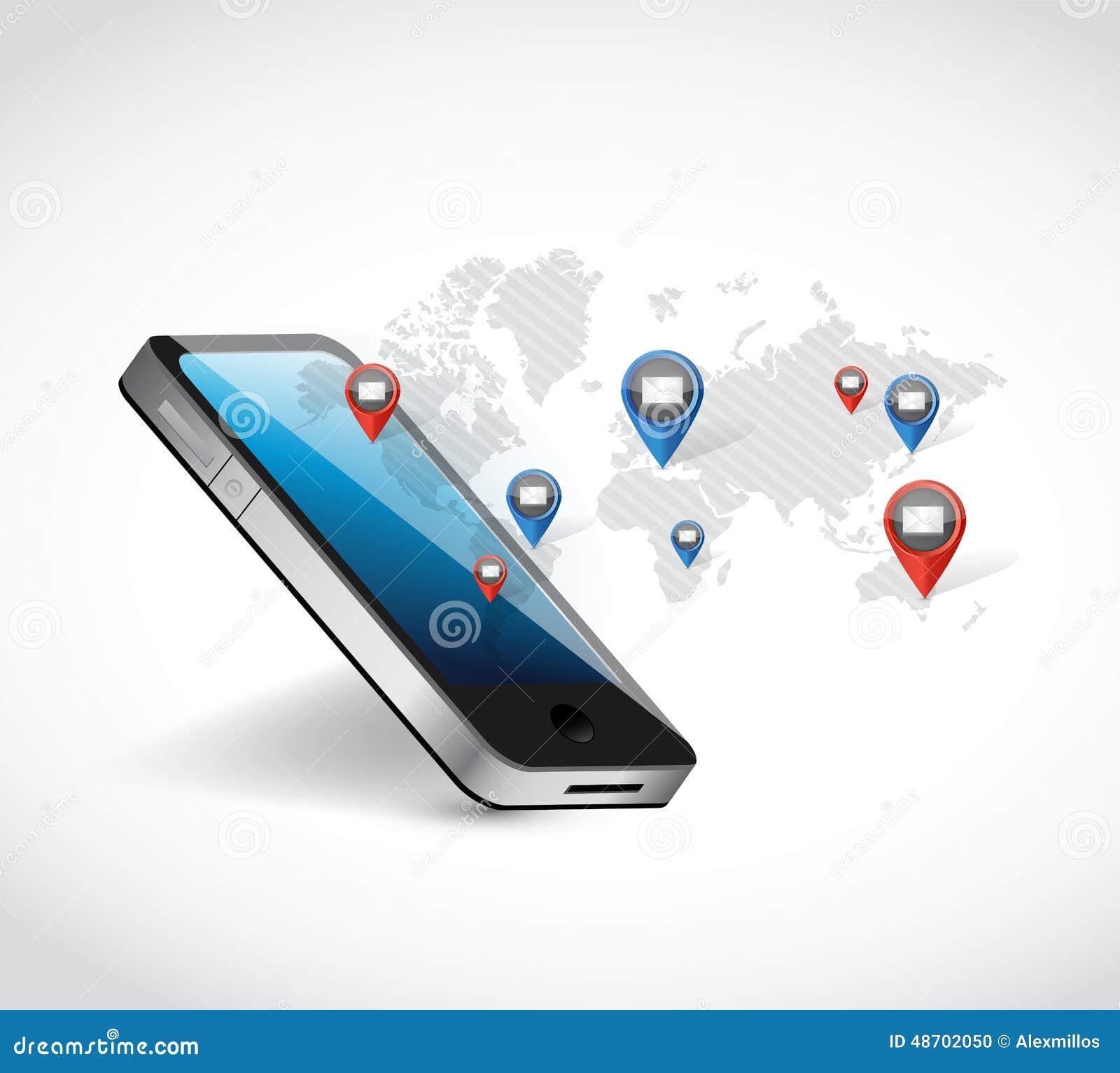 Phone world map network communication illustration stock photo phone world map network communication illustration royalty free stock photo publicscrutiny Choice Image