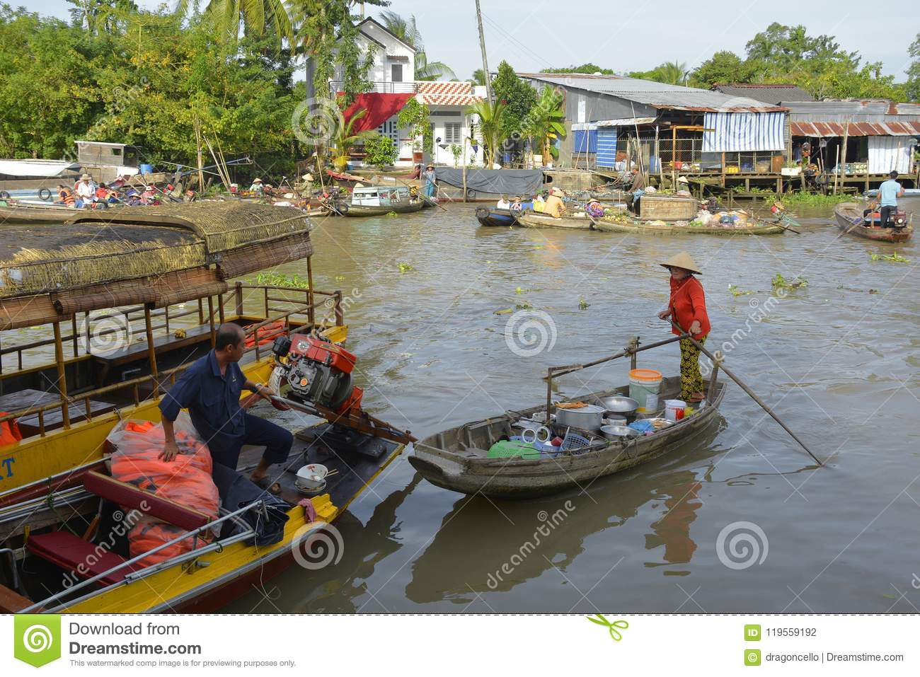 Two Boats At Phong n Floating Market Editorial Photography ... on