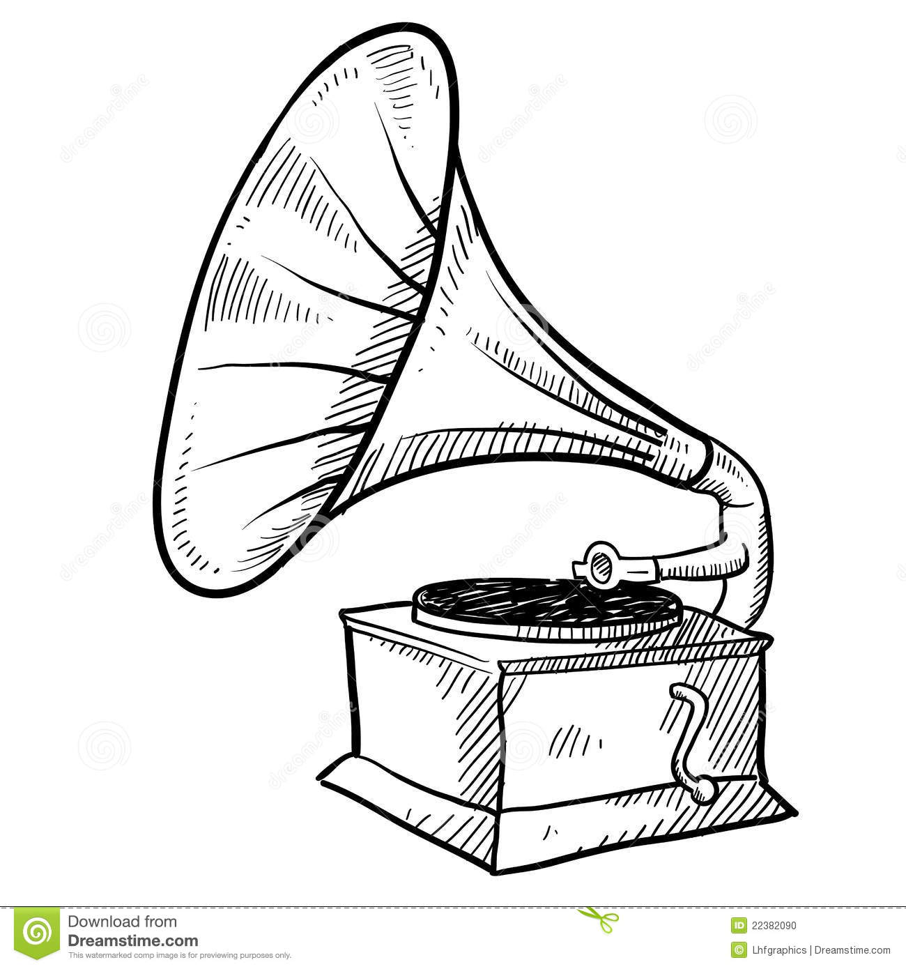 Doodle style antique phonograph or record player in vector format.