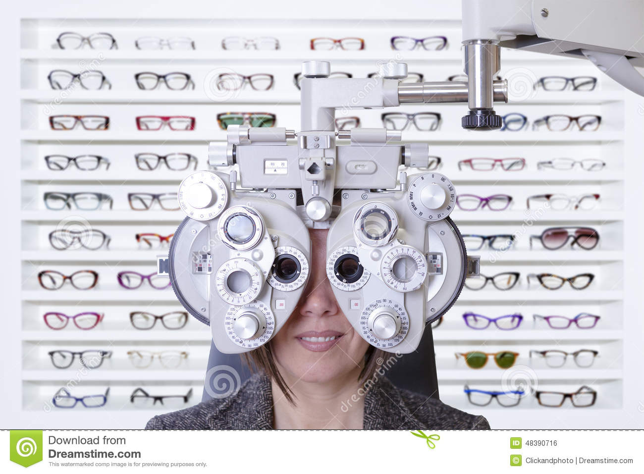 Phoropter and glasses stock photo  Image of optician - 48390716