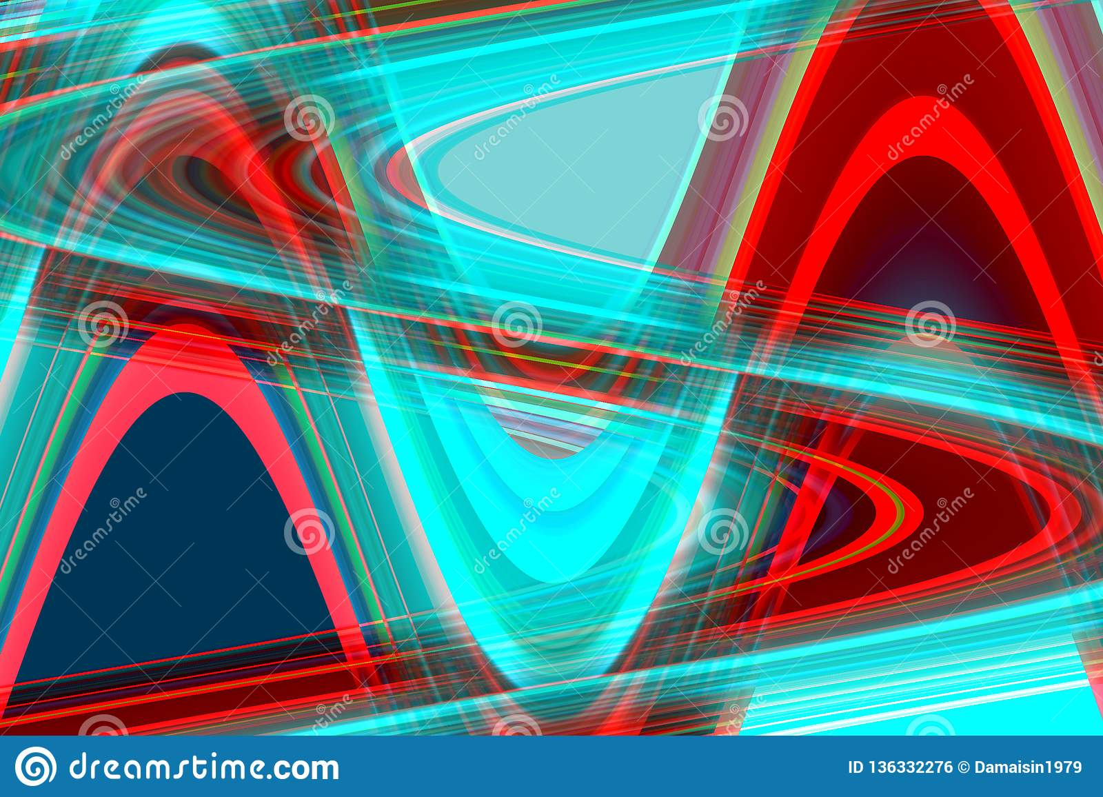 Phosphorescent Red Blue Forms And Shapes Geometric Abstract