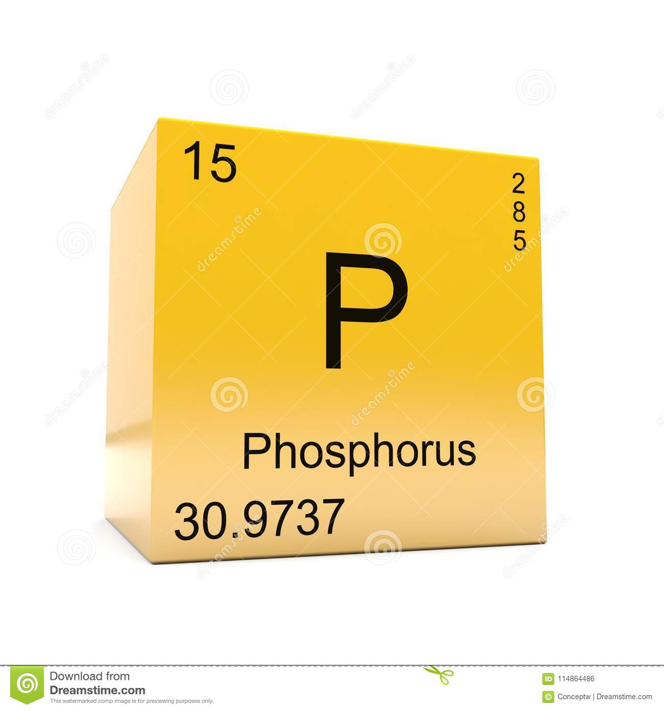 Phosphorus Chemical Element Symbol From Periodic Table Stock