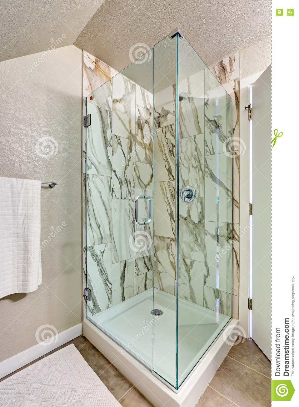 Photo Of Attic Bathroom With An Alcove Shower Stock Photo Image Of