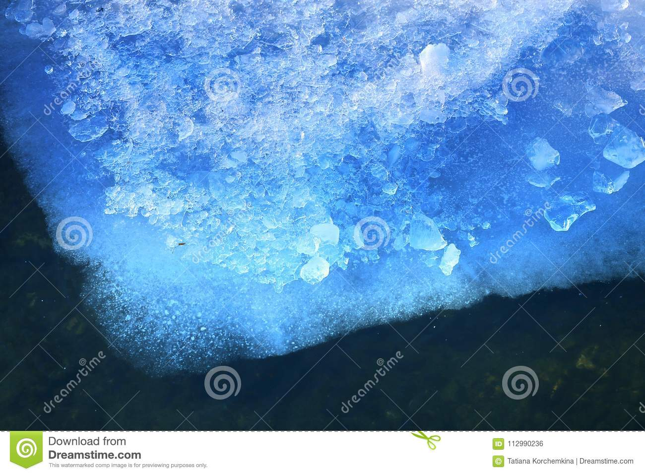 Photo background of macro ice and water