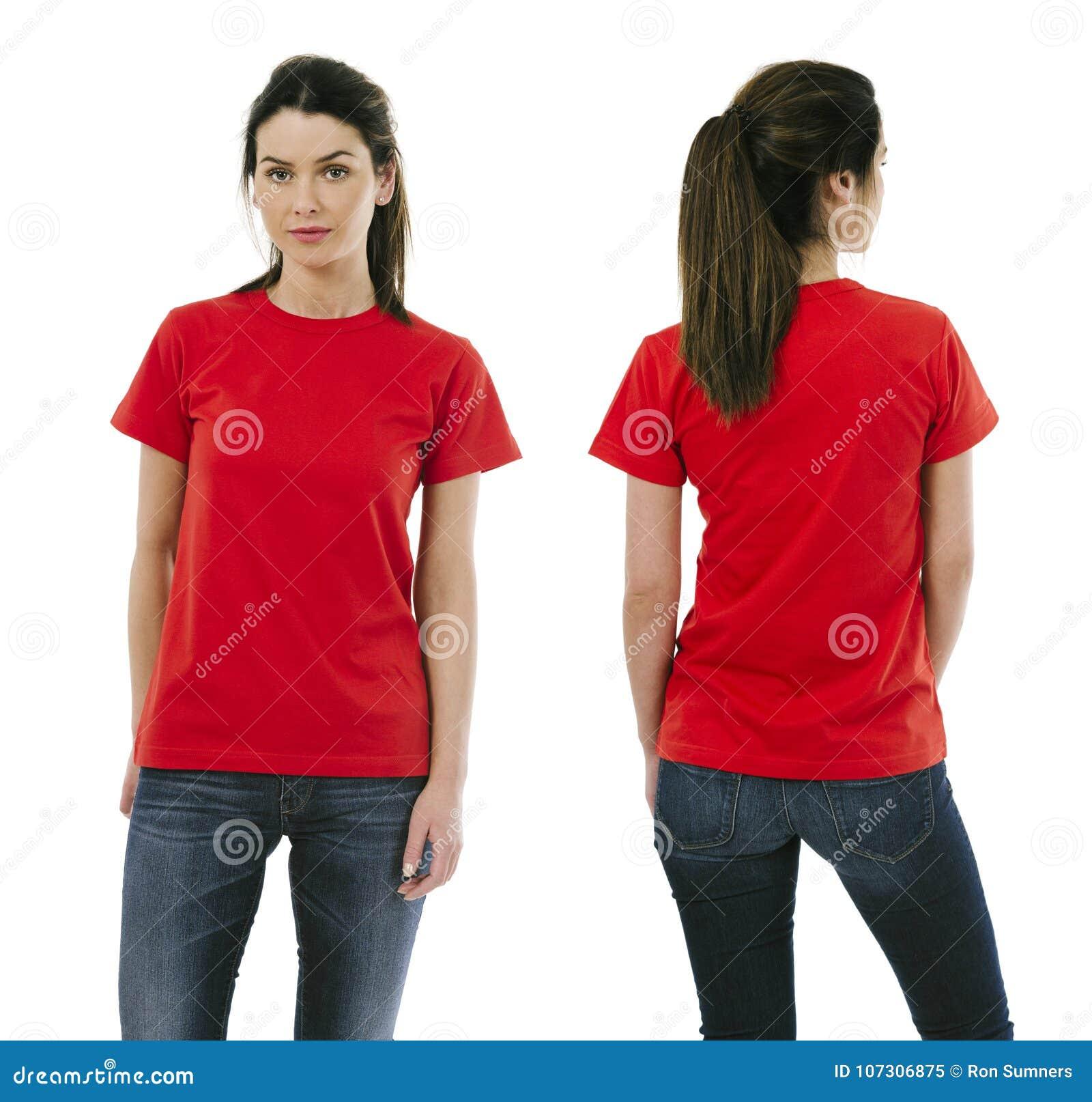 Brunette woman wearing blank red shirt