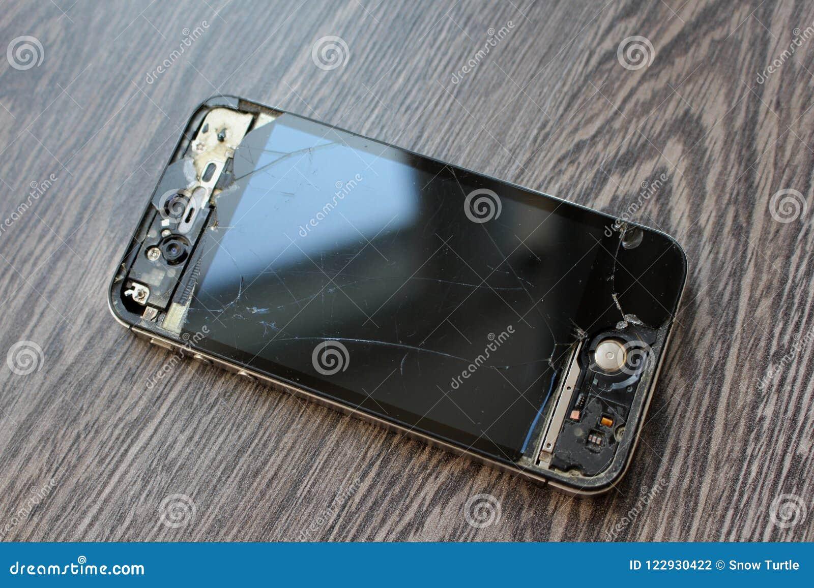 Photo of a Black Broken iPhone Smartphone