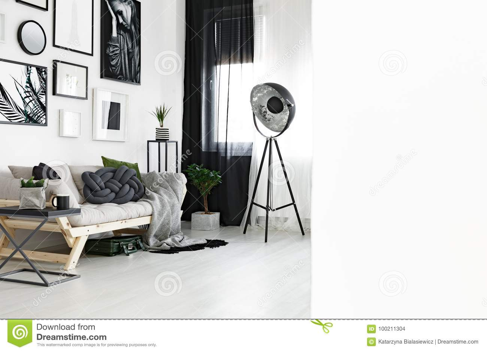Photo of white living room stock photo. Image of gray ...