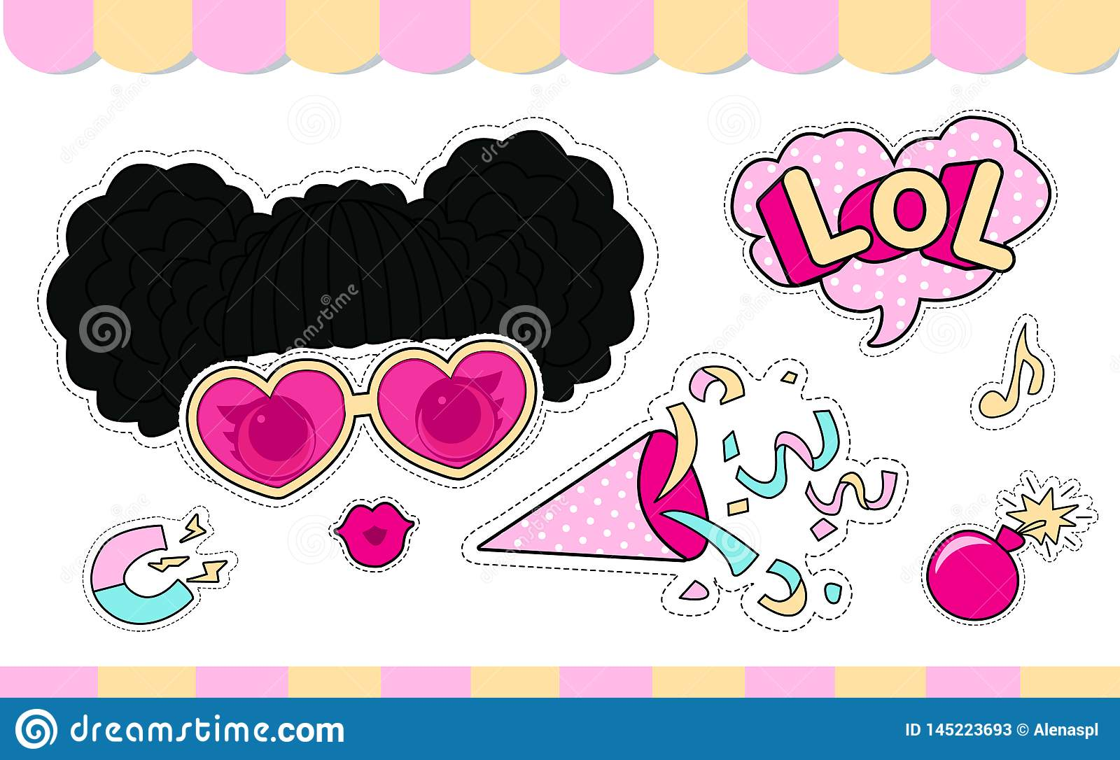 Set of cute girlish  stickers for lol doll party. Element of design for invite card.