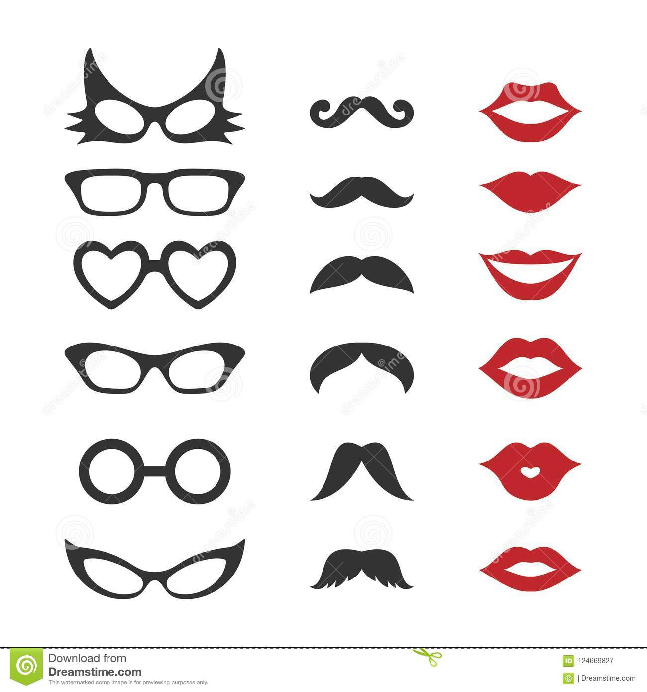 photo booth props for weddings party mustache glasses lips