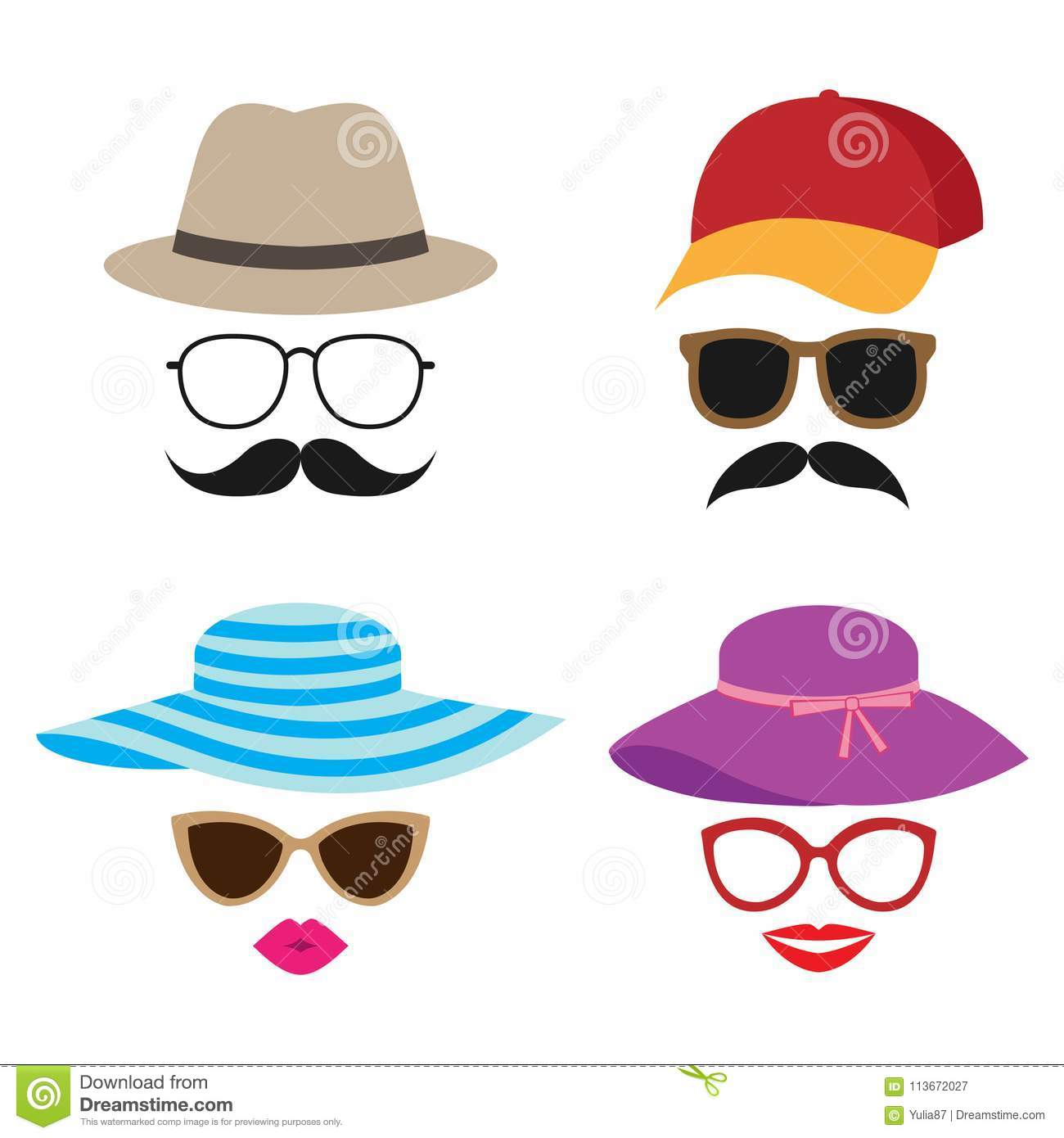 c9272c0ac0d Summer Photo Booth Vector Props Stock Vector - Illustration of ...