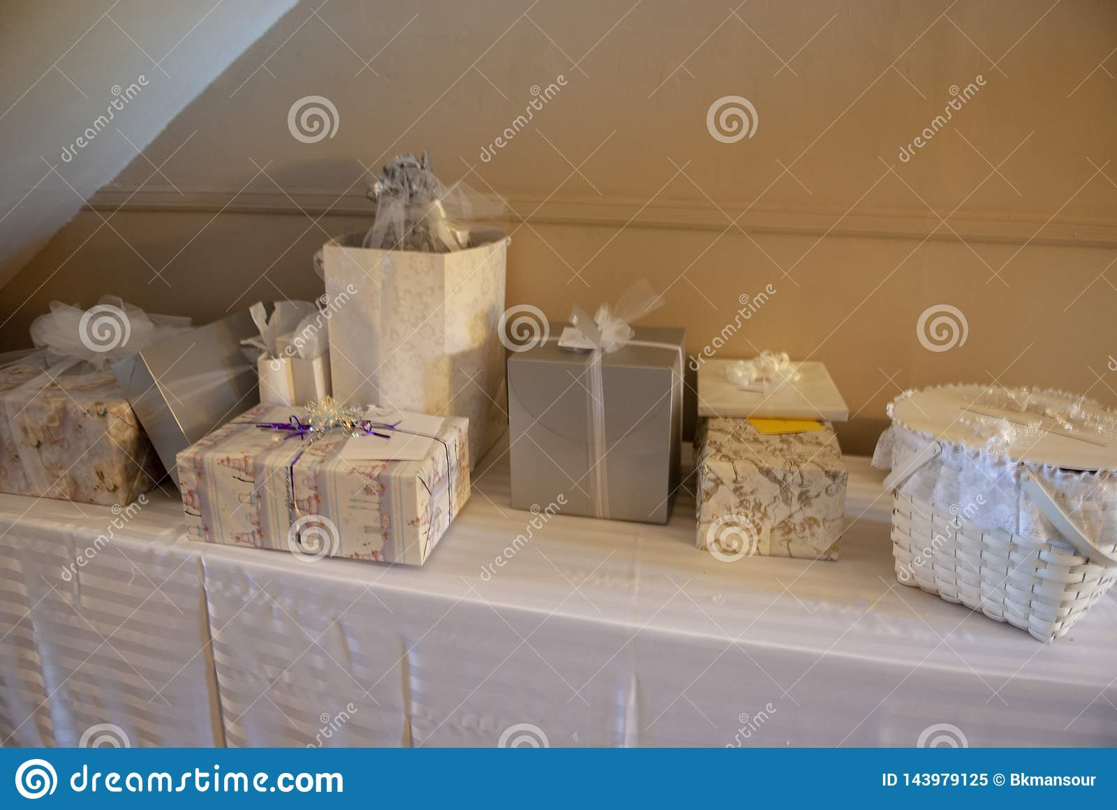 Photo of the Bridal gift table at being of reception.