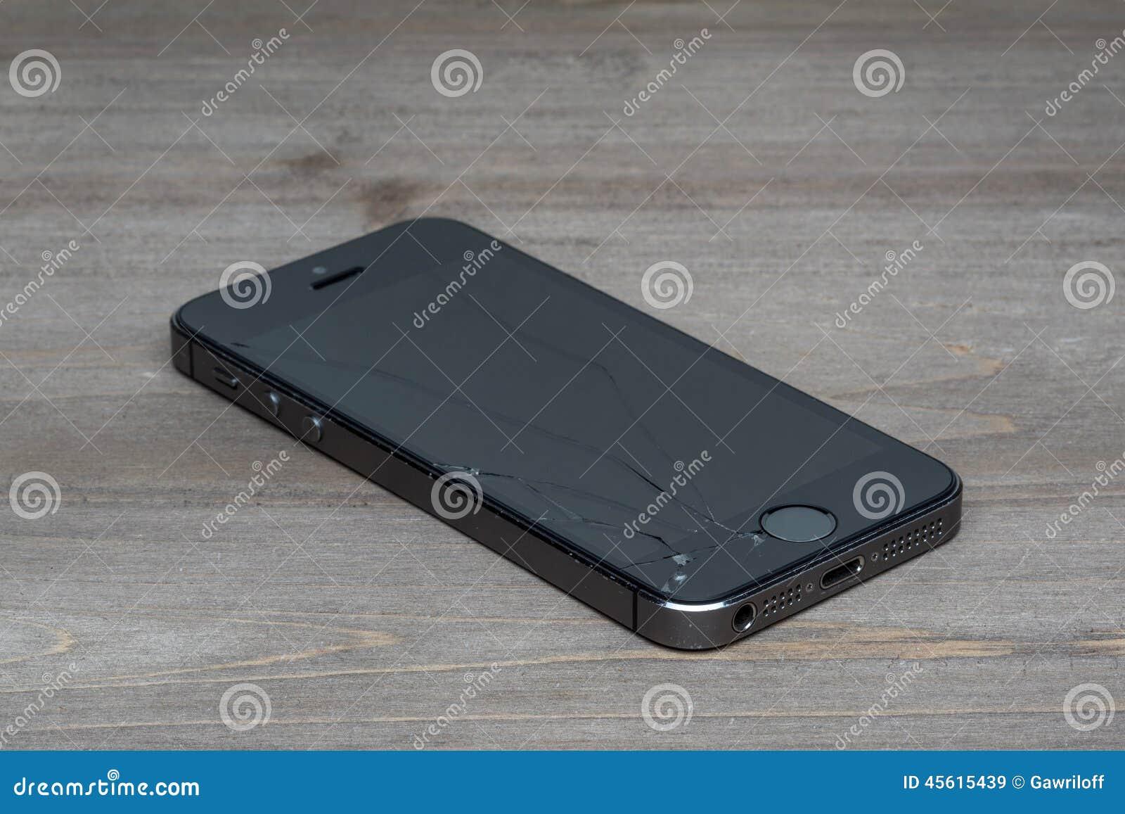 Photo of a broken iPhone 5