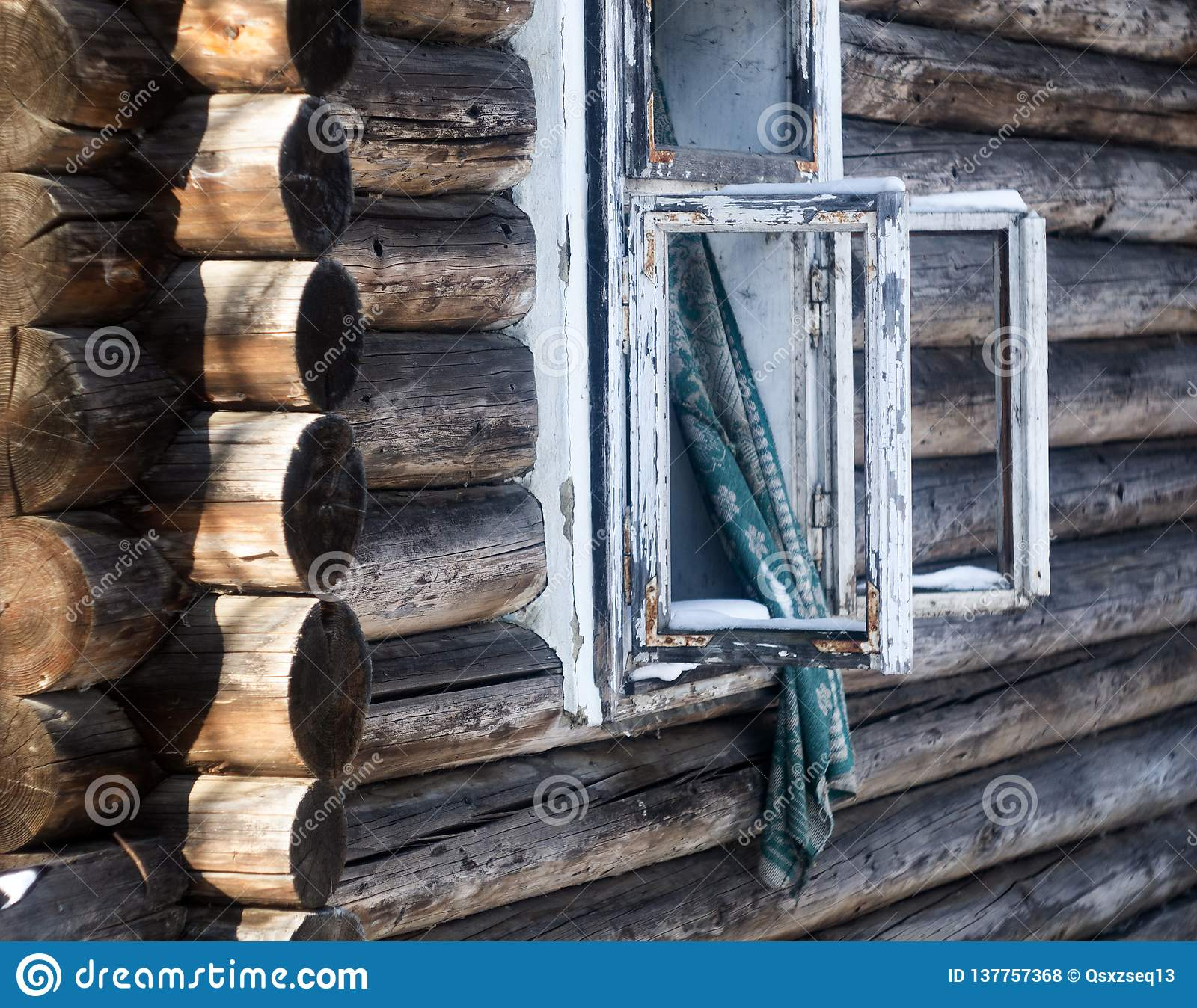 Photo Of A Burnt House In Winter  Charred Beams Of A Wooden House  Burned Down House Stock Photo