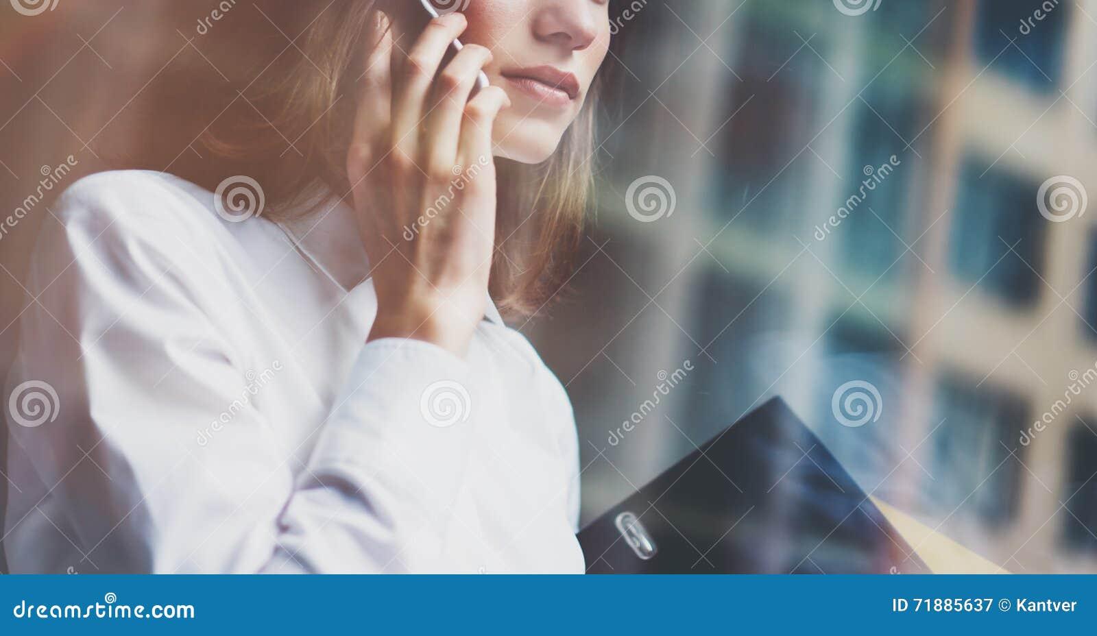 Technology Management Image: Photo Business Woman Wearing Modern Suit, Talking